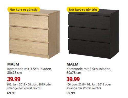 IKEA München-Brunnthal - MALM Kommode mit 3 Schubladen, 80x78 cm,schwarzbraun oderEichenfurnier - jetzt 43% billiger