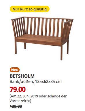 IKEA Oldenburg -  BETSHOLM Bank/außen, Akazie, 135x62x85 cm - jetzt 43% billiger