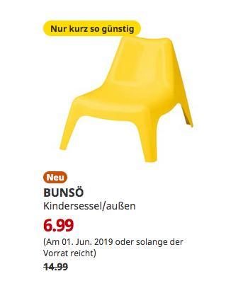 IKEA Oldenburg - BUNSÖ Kindersessel/außen, gelb - jetzt 53% billiger