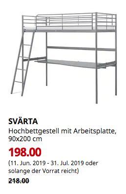 IKEA Osnabrück - SVÄRTA Hochbettgestell mit Arbeitsplatte, silberfarben, 90x200 cm - jetzt 9% billiger