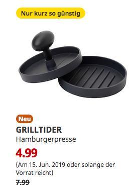 IKEARegensburg - GRILLTIDER Hamburgerpresse, Aluminium, 12 cm - jetzt 38% billiger