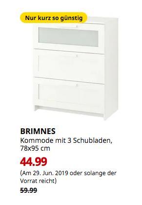 IKEA Saarlouis - BRIMNES Kommode mit 3 Schubladen, weiß, Frostglas, 78x95 cm - jetzt 25% billiger