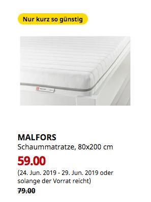 IKEA Wallau - MALFORS Schaummatratze, fest, weiß, 80x200 cm - jetzt 25% billiger