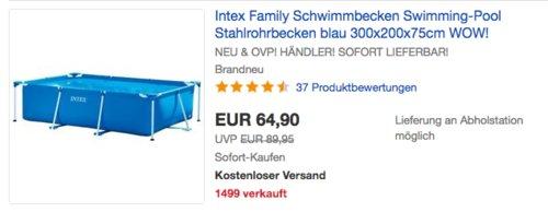 Intex Family Aufstellpool - 300 x 200 x 75 cm - jetzt 13% billiger
