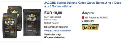 JACOBS Barista Editions Kaffee Ganze Bohne (Crema, Crema Intense oder Espresso) 2 kg inkl. Aluminiumdose - jetzt 23% billiger