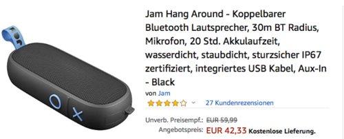 Jam Hang Around - Koppelbarer Bluetooth-Lautsprecher (wasser- und staubdicht nach IP67), schwarz - jetzt 30% billiger