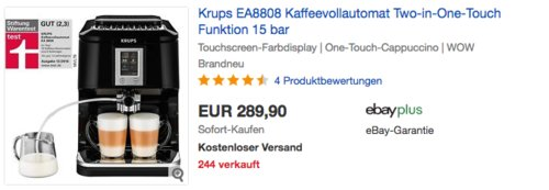 "Krups EA8808 Kaffeevollautomat mit ""Two-in-One Touch"" Funktion, 15 bar - jetzt 37% billiger"