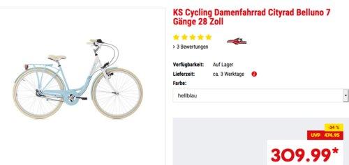 """KS Cycling 7 Gänge 28 Zoll Damenfahrrad/Cityrad """"Belluno"""", hellblau, brombeer oder hellgrün - jetzt 7% billiger"""
