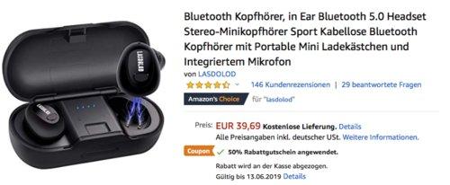 Lasdolod  kabelloser in-Ear Bluetooth-Kopfhörer mit Ladekästchen - jetzt 50% billiger