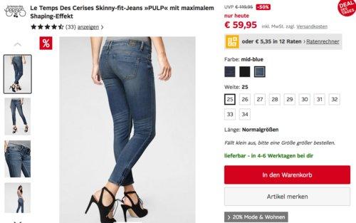 """Le Temps Des Cerises Damen Skinny-fit-Jeans """"PULP"""", versch. Farben und Größen - jetzt 33% billiger"""