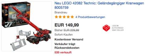 LEGO 42082 Technic Set: Geländegängiger Kranwagen - jetzt 11% billiger