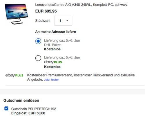 "Lenovo IdeaCentre AIO A340-24IWL 23,8 "" (60,45 cm) Komplett-PC, schwarz - jetzt 8% billiger"