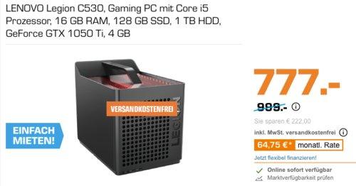 LENOVO Legion C530 Cube Gaming PC (i5, 16 GB RAM, 128 GB SSD, 1 TB HDD, GeForce GTX 1050 Ti 4 GB) - jetzt 13% billiger