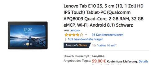 Lenovo Tab E10 25,4cm (10,1 Zoll) Tablet-PC 32GB (ZA470057SE) - jetzt 28% billiger