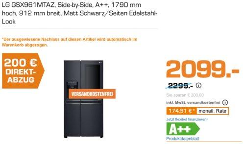 LG GSX961MTAZ Side-by-Side InstaView Kühl-Gefrierkombination (A++, 1790 mm  hoch,  matt schwarz) - jetzt 10% billiger