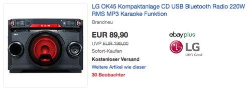LG OK45 All-in-OneKompaktanlage (CD, USB, Bluetooth, Radio, MP3, Karaoke) - jetzt 9% billiger
