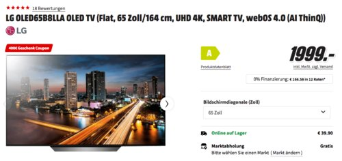 LG OLED65B8LLA 65 Zoll/164 cm UHD 4K OLED-Fernseher inkl. 400€ Geschenk-Coupon - jetzt 17% billiger