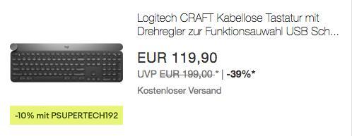 Logitech CRAFT Kabellose Tastatur mit Drehregler - jetzt 10% billiger