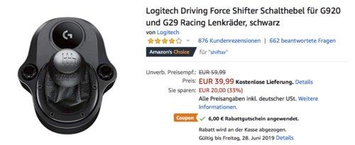 Logitech Driving Force Shifter Schalthebel für G920 und G29 Racing Lenkräder - jetzt 13% billiger