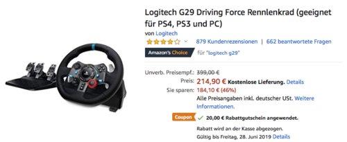 Logitech G29 Driving Force Rennlenkrad (PS4, PS3 und PC) - jetzt 6% billiger
