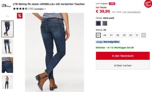 """LTB Damen Skinny-fit-Jeans """"ROSELLA"""" mit verzierten Taschen, dark-used oder  grey washed - jetzt 23% billiger"""
