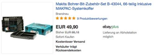 Makita B-43044 Bohrer-Bit-Zubehör-Set inkl. MAKPAC-Koffer, 66-teilig - jetzt 9% billiger