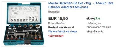 Makita B-54081 Ratschen-Bit Set, 21-teilig - jetzt 20% billiger