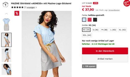 """MAZINE Shirtkleid """"Agness"""" in versch. Farben und Größen - jetzt 27% billiger"""
