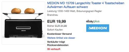 MEDION MD 15709 Langschlitz Toaster für 4 Toastscheiben - jetzt 33% billiger