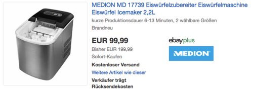 MEDION MD 17739 Eiswürfelzubereiter, 2 wählbare Größen, 2,2L - jetzt 18% billiger