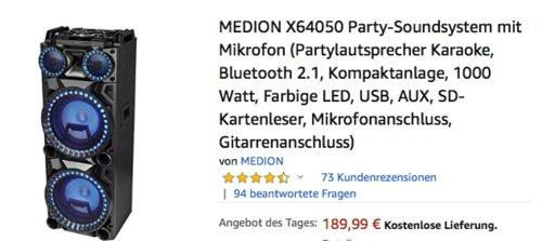 MEDION X64050 Party-Soundsystem mit Mikrofon (Karaoke, Bluetooth, Farbige LED, USB, AUX) - jetzt 5% billiger