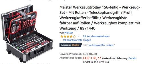 Meister 8971440 Werkzeugtrolley komplett mit Werkzeug, 156-teilig - jetzt 20% billiger