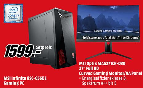 MSI INFINITE 8SC-656DE Gaming PC (i7, 16 GB RAM, 256 GB SSD, RTX 2060) inkl. MSI Optix MAG271CR 27 Zoll Curved Gaming Monitor (1 ms, 144 Hz) - jetzt 6% billiger