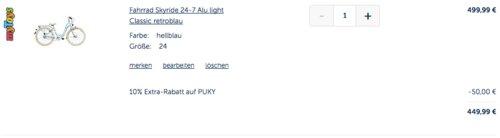 myToys.de 10% Extra-Rabat auf Fahrräder der Marke PUKY: z.B.  PUKY Fahrrad Skyride 24-7 Alu light Classic, retroblau - jetzt 10% billiger