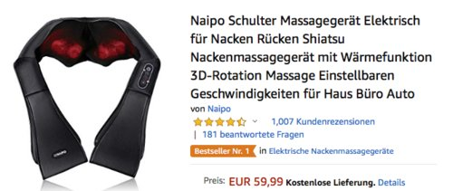 Naipo MGS-150DC Nackenmassagegerät mit Wärmefunktion - jetzt 10% billiger