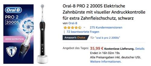 Oral-B PRO 2 2000S Elektrische Zahnbürste mit visueller Andruckkontrolle, schwarz - jetzt 20% billiger