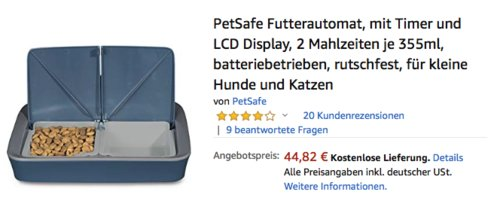 PetSafe Futterautomat PFD19-15770 für kleine Hunde und Katzen (2x355ml, Timer, LCD Display) - jetzt 18% billiger