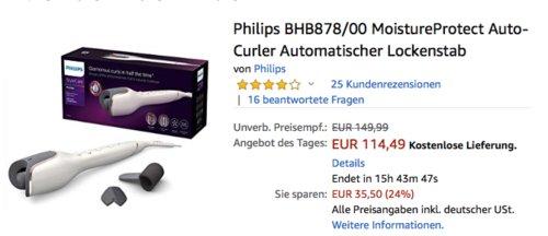 Philips BHB878/00 MoistureProtect Auto-Curler, automatischer Lockenstab - jetzt 24% billiger