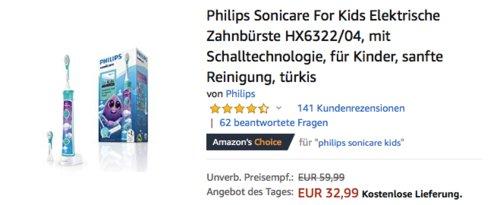 Philips Sonicare For Kids Elektrische Zahnbürste HX6322/04 - jetzt 20% billiger