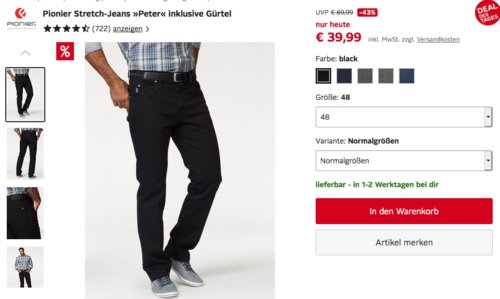 """Pionier Herren Stretch-Jeans """"Peter"""" inklusive Gürtel, versch. Farben und Größen - jetzt 34% billiger"""