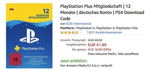 PlayStation Plus Mitgliedschaft 12 Monate als Download Code (nur deutsche SEN-Konten) - jetzt 30% billiger