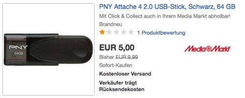 PNY Attache 4 64GB USB-Stick, USB-2.0 - jetzt 50% billiger