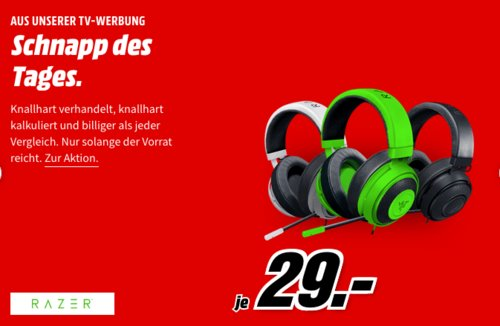 RAZER Kraken Pro V2 Gaming Headset, grün, schwarz oder weiß - jetzt 55% billiger