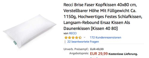 Recci Breeze®-Faser Kopfkissen 40x80 cm , hypoallergen - jetzt 28% billiger
