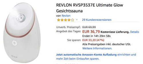 REVLON RVSP3537E Ultimate Glow Gesichtssauna - jetzt 14% billiger