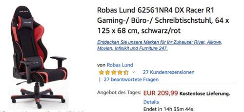 Robas Lund 62561NR4 DX Racer R1 Gaming-/ Büro-/ Schreibtischstuhl, schwarz/rot - jetzt 25% billiger