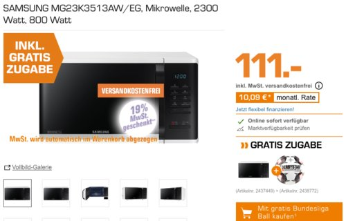 SAMSUNG MG23K3513AW/EG Mikrowelle inkl. Derbystar Brillant APS Bundesligaball - jetzt 51% billiger