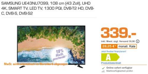 SAMSUNG UE43NU7099 108 cm (43 Zoll) UHD 4K Fernseher - jetzt 16% billiger