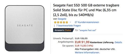 Seagate Fast SSD 500 GB externe SSD-Festplatte für PC und Mac, USB-C - jetzt 14% billiger