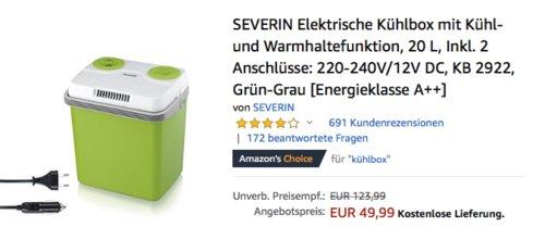 SEVERIN KB 2922 Elektrische Kühlbox mit Kühl- und Warmhaltefunktion, 20 L - jetzt 13% billiger